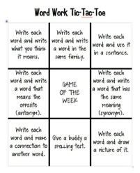 Word work tic-tac- toe. Students must complete three in a row in order to complete the assignment.