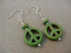 GREEN PEACE EARRINGS Peace sign Earrings Funky by magiccloset, $10.00