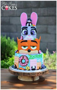 Zootopia cake by Hot Mamas Cakes Fancy Cakes, Cute Cakes, Zootopia Cake, Fondant Cakes, Cupcake Cakes, Movie Cakes, Party Fiesta, Character Cakes, Disney Cakes