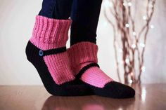 Knit Slipper Sock Adult Maryjane Slipper Sox por Nothingbutstring