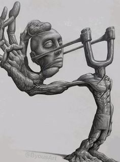 Illustration by Byous Badass Drawings, Dark Art Drawings, Art Drawings Sketches, Skull Drawings, Creepy Art, Weird Art, Arte Horror, Horror Art, Dark Art Illustrations