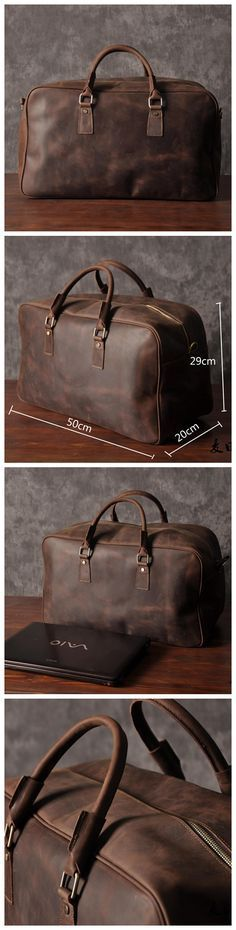 Super Large Leather Travel Duffle Bag Laptop Weekender Bag Overnight Bag