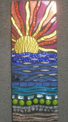 This is an all hand cut, handmade mosaic Wall Hanging. It is a beach motif mosaic using stained glass, glitter glass, Mosaic Crafts, Mosaic Projects, Stained Glass Projects, Stained Glass Art, Mosaic Wall, Mosaic Glass, Mosaic Tiles, Mosaic Rocks, Mosaic Artwork