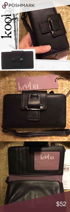 """NWT Kooba Jonnie Leather Tab Wallet pda Wristlet Kooba Jonnie Leather Tab Wallet  Super soft leather, slightly padded wristlet or clutch wallet with silvertone hardware. Removable wrist strap. Snap-tab closure. Back zip pocket. Interior, twill lining; 16 card and three bill slots; ID window; one open pocket (fits iphone 6s perfectly..) and one zip pocket. 4.5""""H x 8""""W x 0.8""""D Brand new with tag... retail $88.00 Kooba Bags Clutches & Wristlets"""