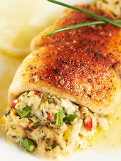 Crab & Asparagus-Stuffed Tilapia this Wednesday. What Are Your Favorite Stuffed Recipes? - Crab & Asparagus-Stuffed Tilapia this Wednesday. What Are Your Favorite Stuffed Recipes? Food For Thought, Stuffed Tilapia, Stuffed Fish, Crab Stuffed Shrimp, Asparagus Stuffed Chicken, Stuffed Flounder, Clean Eating, Healthy Eating, Shrimp And Asparagus