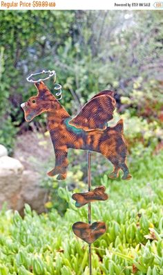 Schnauzer Angel Dog Garden Stake / Pet Memorial / Copper Garden Art / Metal Yard Art / Plant Stake / Pet Grave Marker / Schnauzer Sculpture