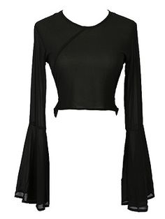 Shop Black Trumpet Sleeve Bow Back V-neck Chiffon Crop Blouse from choies.com .Free shipping Worldwide.$16.99