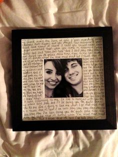 Great gift idea for my husband!  use a picture from when you first started courting. Maybe write lyrics to a song that reminds you of him, write him a letter about when you met him, when you knew he was the one, or write about how excited you are for your future with him. Way cute!