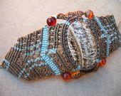 "Natural Petrified Wood Boho Style Macrame Bracelet--6"" tan turquoise orange--OOAK natural jewelry"