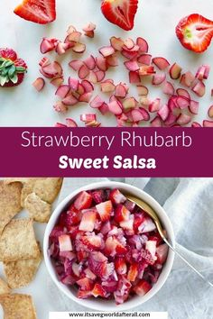 This fun and flavorful Strawberry Rhubarb Salsa is a twist on a classic combo. Serve with fish, pork, or on its own as a dip. Veggie Snacks, Healthy Vegetable Recipes, Easy Snacks, Healthy Snacks, Easy Appetizer Recipes, Dessert Recipes, Cranberry Juice And Vodka, Sweet Salsa, Lime Juice
