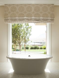 Beautiful Outside Mount Roman Shade Curtains to Make Lively Living Rooms : Cool Outside Mount Roman Shade With White Big Bathtub For Your Bathroom Design