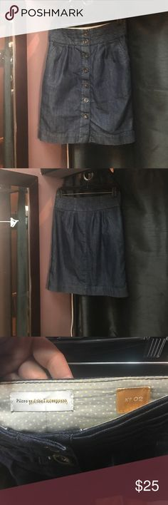Anthro Pilcro & the Letterpress denim pencil skirt Anthro Pilcro & the Letterpress dark wash, denim,pencil skirt with button down front. Like brand new. No flaws Anthropologie Skirts