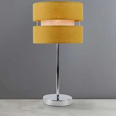 Featuring a contemporary cut out style drum shade in a vibrant ochre yellow, this Frea table lamp is crafted with a durable slender chrome base. Ochre Bedroom, Indigo Bedroom, Ochre Lighting, Mustard Bedroom, Large Lamps, Living Room Grey, Living Room Inspiration, Drum Shade, Light Shades