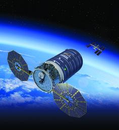 O conceito do artista do Cygnus sonda da Orbital ATK em órbita.