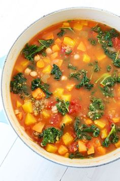 This no-fuss Fall Vegetable Quinoa Soup is loaded with healthy vegetables like butternut squash, kale, tomatoes, and carrots.