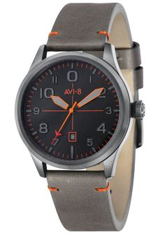 AVI-8 Flyboy Grey Orange Watch is now available at Watches.com. Free Worldwide Shipping and Easy Returns. Shop Now