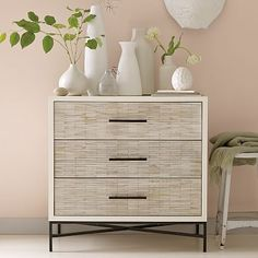 If you get these as your nightstands, the dresser won't be matchy-matchy :) Wood Tiled 3-Drawer Dresser #westelm
