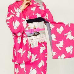 テレビ撮影用のスタイリング。ピンクのうさぎ着物に、フランスの古い人形をモチーフにした帯。 #着物 #かわいい #うさぎ #女子力 #花柄 #yamamotoyumi #tokyo #japan #kawaii #kimono