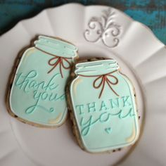 mason jar thank you cookies Klickitat Street perfect monograms Cookie decorating - quilting with royal icing Coloring Dough for Easy Cookies. Thank You Cookies, Fancy Cookies, Iced Cookies, Cut Out Cookies, Cute Cookies, Royal Icing Cookies, Cupcake Cookies, Sugar Cookies, Cupcakes