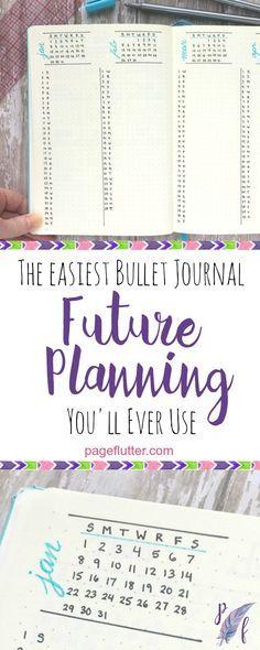 Page Flutter's simple column method for bullet journal future planning.                                                                                                                                                                                 More
