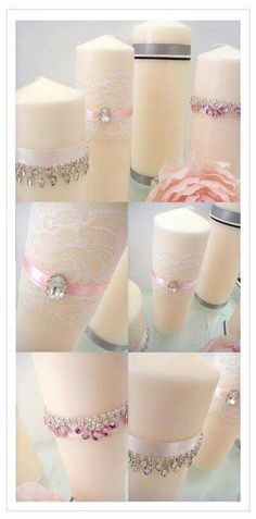 DIY wedding décor idea - Romantic candles decorates with bits of lace, ribbon and a touch of bling, instructions at Blush Printables Lace Candles, Romantic Candles, Diy Candles, Pillar Candles, Ideas Candles, Flameless Candles, Beeswax Candles, Candle Craft, Unity Candle