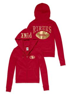 San Francisco 49ers Zip Hoodie PINK -Rep your team in a classic hoodie with shimmery graphics. Exclusively from the Victoria's Secret PINK NFL Collection!