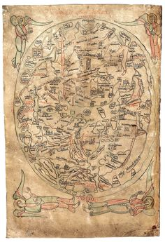Sawley Map by theologian Honorius Augustodunenesis, 1190. Based on a biblical view of the world, with a mix of classical and Christian sources. The angel at the top left points to Gog and Magog, depicting a Christian world awaiting the Day of Judgement.