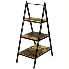 A-Frame Iron Ladder Open Display Shelves Reclaimed Wood Furniture rustic-bookcases