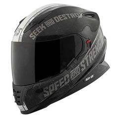 Speed and Strength Cruise Missile Men's Sports Bike Motorcycle Helmet - Black/Silver / Medium. Speed and Strength Cruise Missile Sports Bike Helmet for Men. Meets or Exceeds DOT and ECE Standards. Motorcycle Riding Gear, Motorcycle Helmet Design, Biker Gear, Scrambler Motorcycle, Motorcycles, Sport Bike Helmets, Full Face Motorcycle Helmets, Full Face Helmets, Sport Bikes