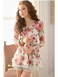 de las mujeres aumentaron de impresión de encaje dobladillo blusa