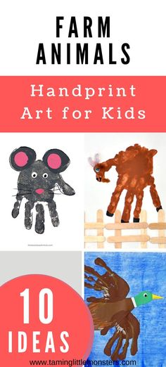 Learn how to turn your baby, toddler or preschoolers hands into any of these 10+ Farm Animal Handprint Art ideas. A cute idea for cards or gifts these holidays. #artsandcrafts #toddler #preschool #baby