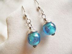 BLUE LAMPWORK DANGLE EarringsGlass Bead by CedarCoveCreations
