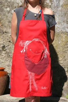 Cotton Apron KusKat with front pocket red by kuskatdesigns on Etsy, €38.00
