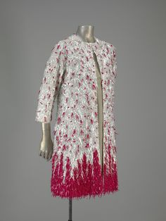 1967, Spain - Evening coat (manteau) by Cristóbal Balenciaga - Organza embroidered, sequins, beads