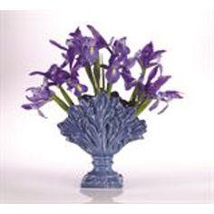 Abigails Tulipiere in Leaf Shape In Blue Vase Shapes, Leaf Shapes, Flower Vases, Flower Arrangements, Round Vase, Holding Flowers, Vase Fillers, Pottery Vase, Vases Decor