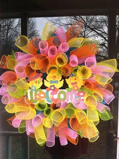 Spring mesh wreath/ Easter wreath on Etsy, $55.00