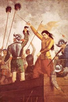 Inés de Suárez (c. was a Spanish conquistador who participated in the Conquest of Chile with Pedro de Valdivia and successfully defending Santiago against a Mapuche attack in Conquistador, Today In History, Women In History, Spanish Heritage, 11. September, Warrior Queen, Spanish Colonial, Historian, Painting