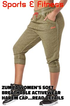 Zumba Women's Soft Breathable Activewear Harem Capri Workout Pants, Army Green, Small