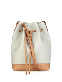 b7bcef277a26 Large canvas and leather bucket bag