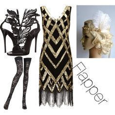 Dance and have fun   flapper headband from Blueskyhorizons  Flapper by fashion-anime-animals-reading on Polyvore featuring moda, Pierre Mantoux and Giuseppe Zanotti