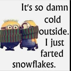 Its So Cold I Just Farted Snowflakes winter minion minions winter quotes winter humor minion quotes funny winter quotes quotes about winter winter humor quotes funny quotes about winter Funny Minion Pictures, Funny Minion Memes, Minions Quotes, Funny Jokes, Minion Humor, Hilarious Quotes, Hilarious Pictures, Funny Winter Pictures, Funny Work Quotes