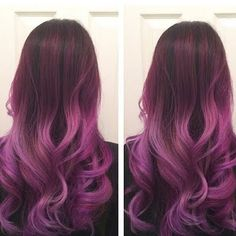 Make a statement on your night out in this balayage ombre in lilac, plum and red hues. Check out the styling and coloring essentials listed here for inspiration.