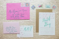 Emerald and Pink Wedding Ideas Invitations and Paper Goods: The Stationery Bakery | via ruffledblog.com