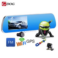 "5.0"" IPS Touch Android 4.4 ROM  FHD1080P WiFi parking car dvrs Rearview mirror video recorder Car DVR Dual  Lens Camera Dual"
