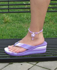 67f2df6eb Items similar to Purple beaded anklet with flower