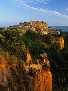 Rousillon Village, Provence, France. Beautiful ochre cliffs.