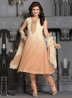 Cream N Peach Softnet Anarkali Suit