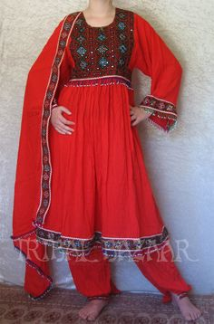Bright Red Afghan dress<3