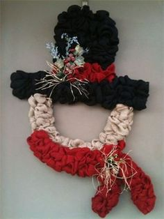 XL Burlap Shaped Snowman Wreath : $125 - Sold Made by Red-y Made Wreaths. Like & Follow us on Facebook https://www.facebook.com/pages/Red-y-Made-Wreaths/193750437415618 or Visit us at www.redymadewreaths.com
