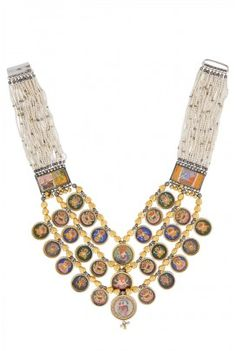 29 original hand painted deities on handmade Sanganeri paper, strung with silver beads and pearls